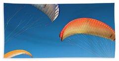 Flying Paragliders In Santa Barbara, Ca Beach Towel
