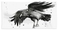 Flying Raven Watercolor Beach Towel