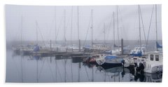 Fog In Marina I Beach Towel
