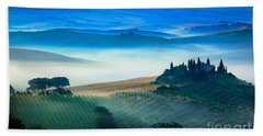 Fog In Tuscan Valley Beach Towel