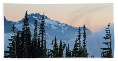 Mt. Rainier's Foggy Sunset Beach Towel by E Faithe Lester