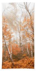 Foggy Autumn Aspens Beach Sheet