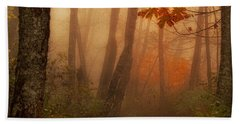 Foggy Autumn Beach Towel