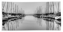 Beach Towel featuring the photograph Foggy Autumn Morning - Black And White by Heidi Smith