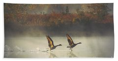 Foggy Autumn Morning Beach Towel