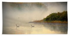 Foggy Autumn Swim Beach Towel
