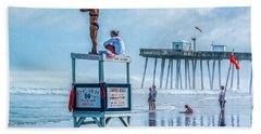 Foggy Beach View Beach Towel