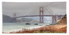 Foggy Bridge Beach Towel by Kate Brown