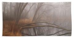 Foggy Fall Morning Beach Towel