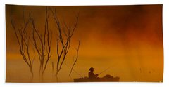 Foggy Morning Fisherman Beach Towel