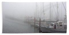 Foggy Morning In Charleston Harbor Beach Towel
