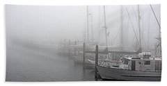 Foggy Morning In Charleston Harbor Beach Sheet by AJ  Schibig