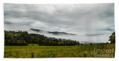 Beach Towel featuring the photograph Foggy Morning In The Mountains. by Debbie Green