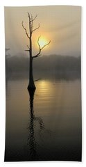 Foggy Morning Sunrise Beach Towel