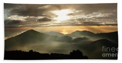 Foggy Sunrise Over Haleakala Crater On Maui Island In Hawaii Beach Towel by IPics Photography