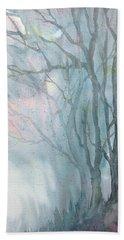 Foggy Trees Beach Towel