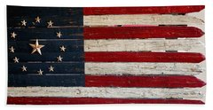 Folk Art American Flag Beach Towel by Art Block Collections