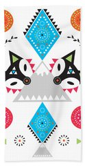 Folk Fox Beach Towel by Susan Claire