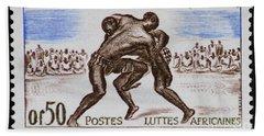 Folk Wrestling Vintage Postage Stamp Print Beach Sheet by Andy Prendy