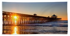 Folly Beach Pier At Sunrise Beach Towel by Lynne Jenkins