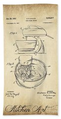 Food Mixer Patent Kitchen Art Beach Sheet by Clare Bevan