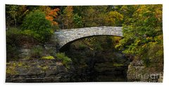 Foot Bridge At Beebe Lake Beach Towel