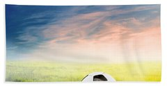 Football Soccer Ball On Green Grass Beach Towel
