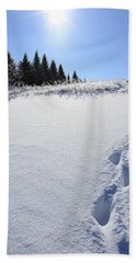 Footprints In The Snow Beach Towel by Penny Meyers