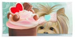Beach Towel featuring the mixed media Forbidden Cupcake by Catia Lee