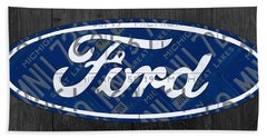 Ford Motor Company Retro Logo License Plate Art Beach Towel