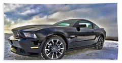 Beach Towel featuring the photograph ford mustang car HDR by Paul Fearn