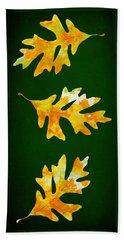Forest Green Autumn Oak Leaf Painting Beach Towel