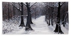 Forest Path In Winter Beach Towel