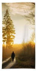 Forest Path Into The Warm Orange Sunset Beach Towel