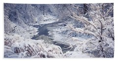 Forest River In Winter Snow Beach Towel