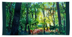 Beach Towel featuring the painting Forest Scene 1 by Kathy Braud