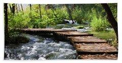 Forest Stream Scenery Beach Towel