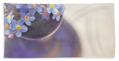 Forget Me Nots In Blue Vase Beach Sheet