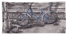 Beach Towel featuring the painting Forgotten Banana Seat Bike by Kelly Mills