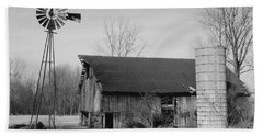 Forgotten Farm In Black And White Beach Sheet by Judy Whitton