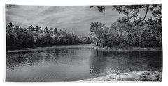 Beach Towel featuring the photograph Fork In River Bw by Mark Myhaver