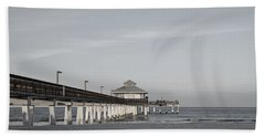 Fort Myers Beach Pier - Black And White Beach Towel