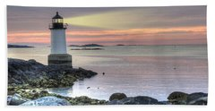 Fort Pickering Lighthouse At Sunrise Beach Towel by Juli Scalzi