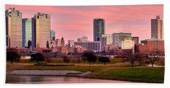 Fort Worth Skyline At Dusk Evening Color Evening Panorama Ft Worth Texas  Beach Towel