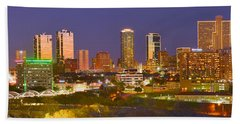 Fort Worth Skyline At Night Color Evening Panorama Ft. Worth Texas Beach Towel