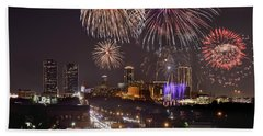 Fort Worth Skyline At Night Fireworks Color Evening Ft. Worth Texas Beach Towel