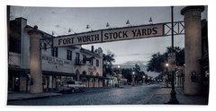 Fort Worth Stockyards Bw Beach Towel