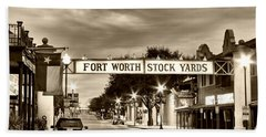 Fort Worth Stock Yards In Sepia Beach Towel