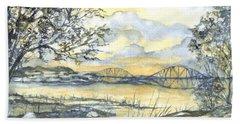 Forth Rail Bridge Edinburgh In Scotland Beach Sheet