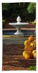 Beach Towel featuring the photograph Fountain And Pumpkins At The Elizabethan Gardens by Greg Reed